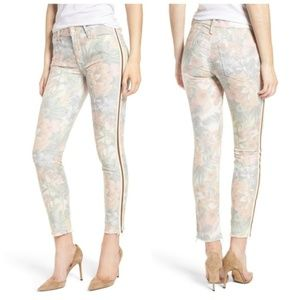 NWT MOTHER The Looker Floral Frayed Ankle Jeans 28